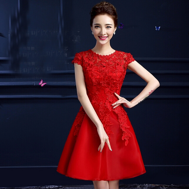formal elegant girl lace red autumn classy party dresses teens 2016 ball gowns brides maid dress 2015 B2894 - I And You Story store