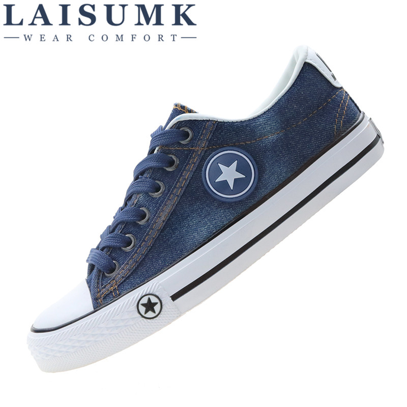2017 LAISUMK Women Casual Shoes Canvas New Denim Trainers Stars Fashion Flats Basket Tenis Feminino Size