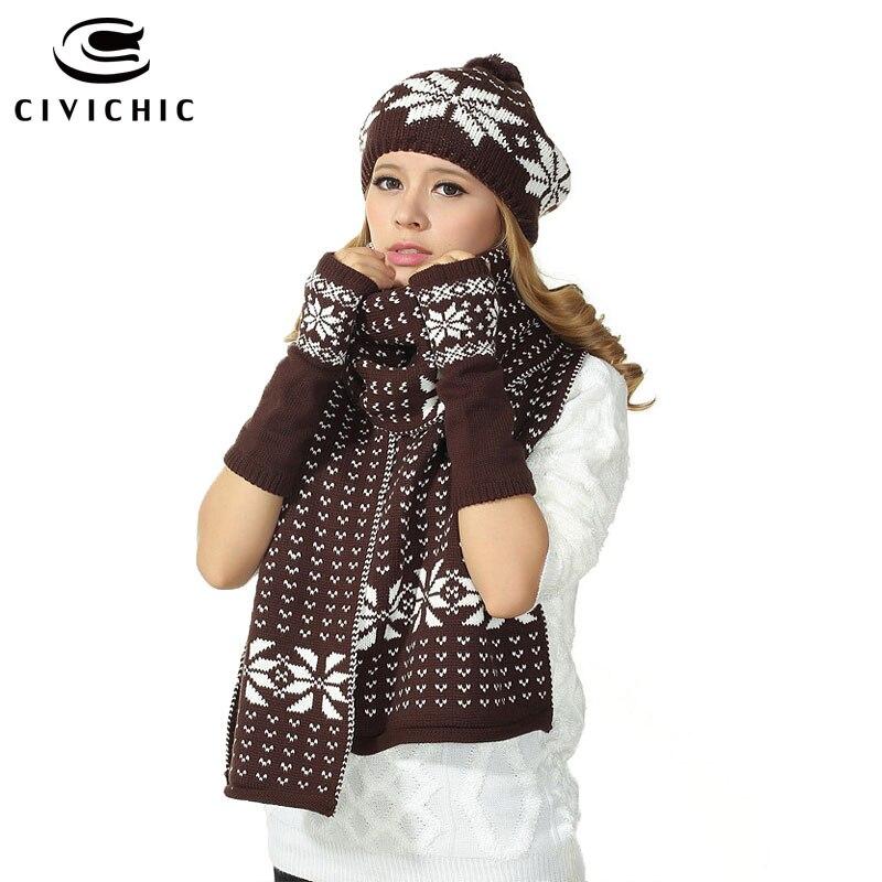 CIVICHIC Women Christmas Knit Hat Scarf Gloves 3 PCS Set Crochet Snow Jacquard Cap Shawl Warm Beanies Xmas Pompon Headwear SH114