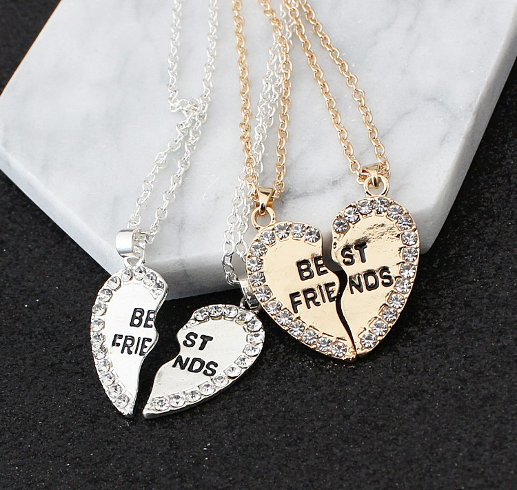 2 pieces / set Half love rhinestone pendant best friend necklace friendship gift for couple good frien dalloy pendant necklace 6