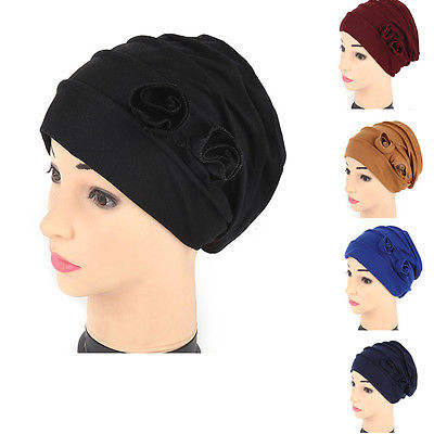 2017New Women Flower Hat Confinement Beanie Baggy Turban Cap Head Wrap Cover Headscarf