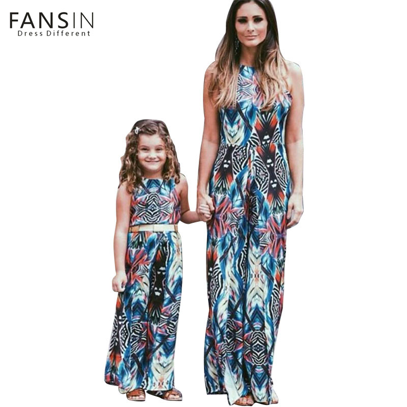 Fansin Brand Family Look Matching Outfit Mommy Daughter Dresses Ethnic Style Hanging Strap Clothes Kids Summer Women Dress