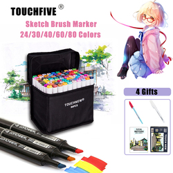 TOUCHFIVE 24/30/40/60/80/ Color Copic Markers Double Head Sketch Markers Dual Brush Ink Pen Drawing Manga Art Supplies