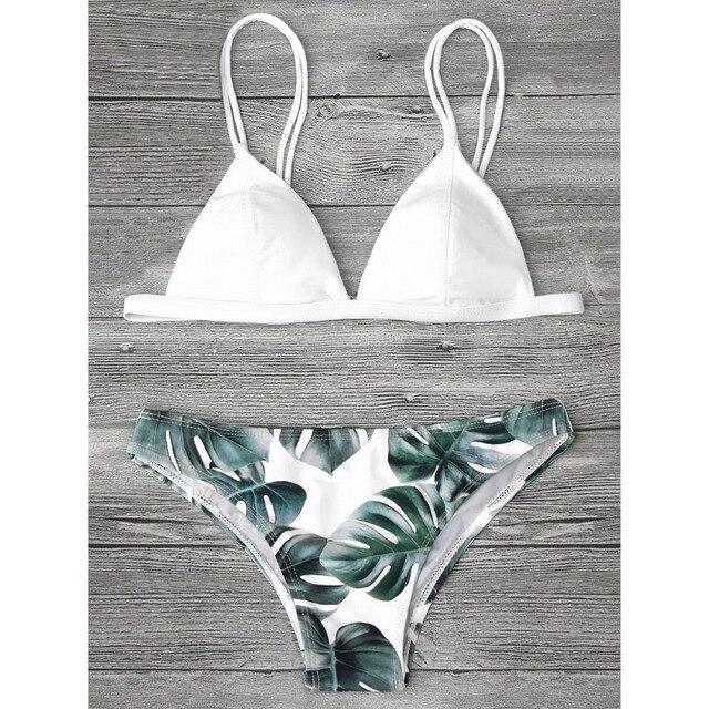 155ebc837 Bikinis nuevos de las mujeres traje de baño Bikini Vintage ropa de playa  hojas impresas sujetador