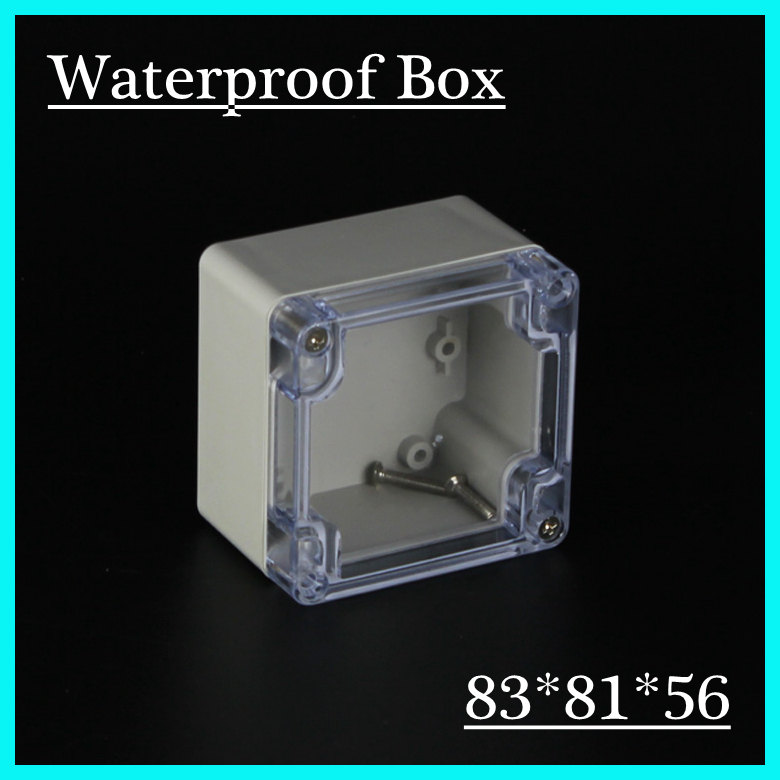 (1 piece/lot) 83*81*56mm Clear ABS Plastic IP65 Waterproof Enclosure PVC Junction Box Electronic Project Instrument Case waterproof abs plastic electronic box white case 6 size
