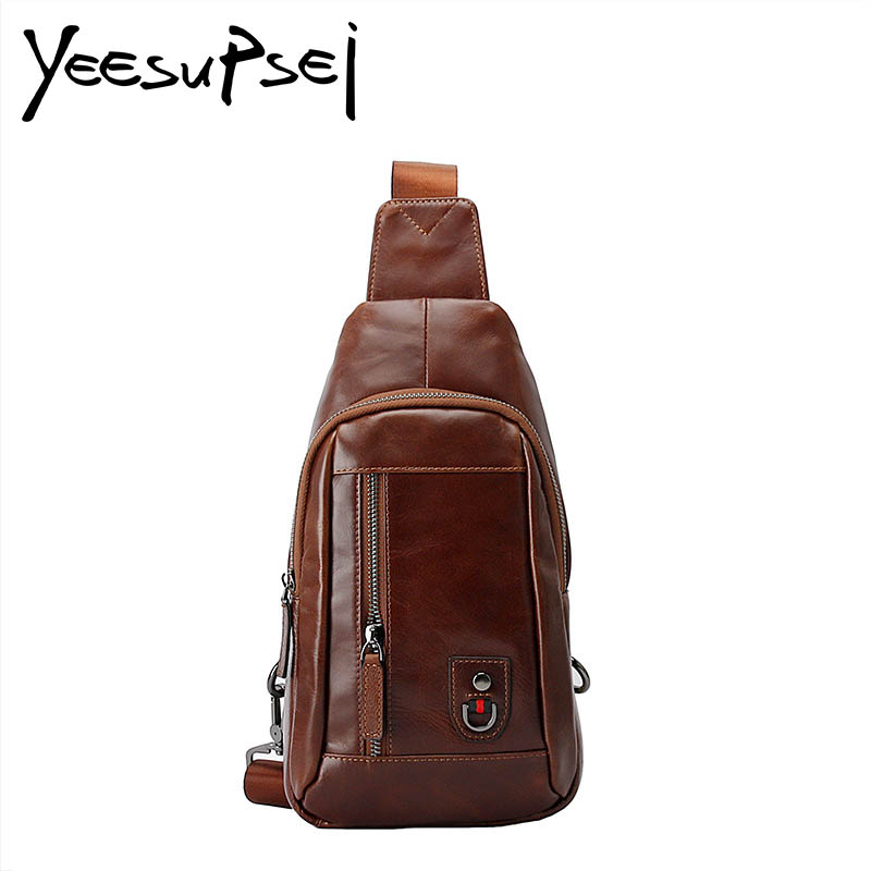 YeSupSei Male Genuine Leather Bag Men Shoulder Messenger Casual Bag Genuine Leather Mens Crossbody Bag Chest Pack Men Simple Bag