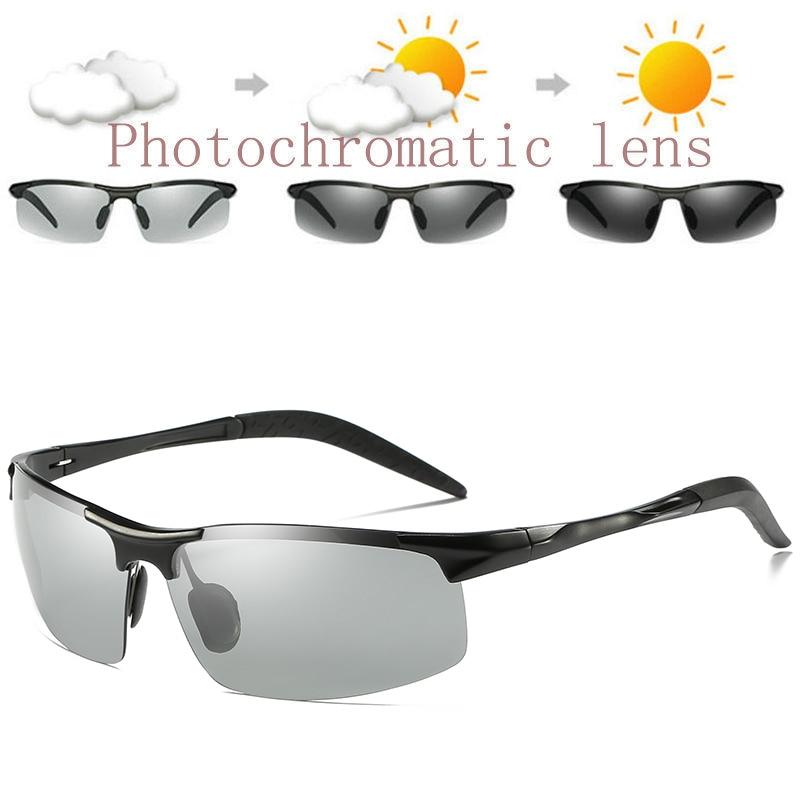 ZJHZQZ Mens UV400 Fishing Polarized Photochromatic Sunglasses Aluminium Magnesium Outdoor Driving Transition Chameleon LensMens Sunglasses   -