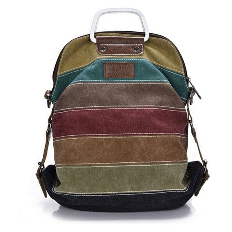 Canvas Stripe Rucksack Multifunction Girls Crossbody laptop Bag Ethnic Rainbow Backpack Fashion School Bolsas Mochila Li295