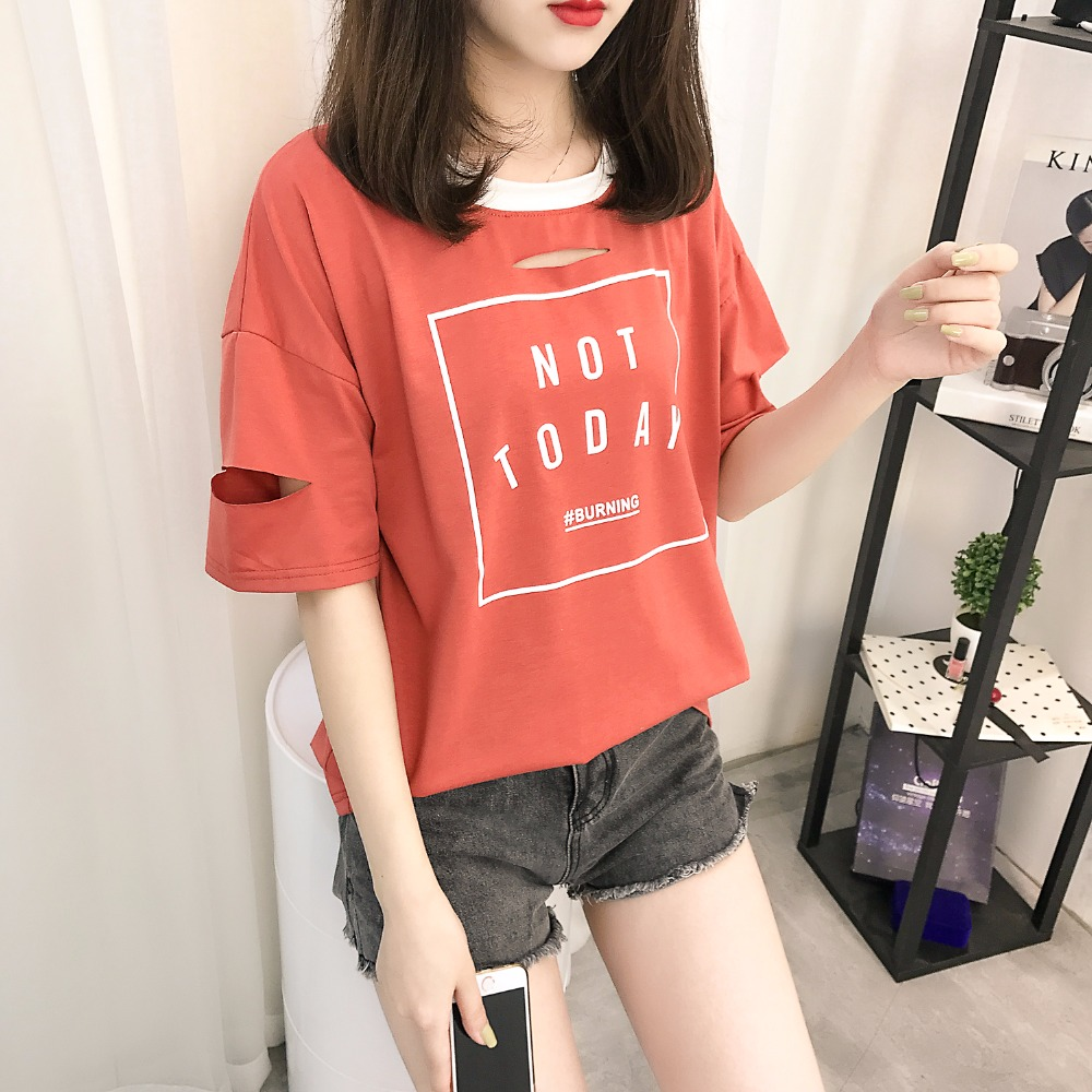 K-pop Harajuku Top Women Summer New KPOP T Shirt Cotton Short Patchwork Letters Not Today Printed BF Ulzzang Style Girls' Tee