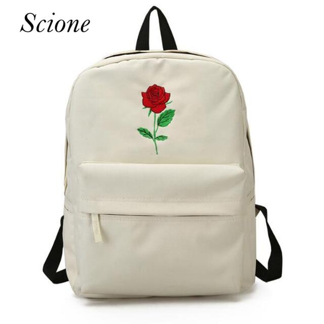 061dbb1910d Women Canvas Rose Flower Embroidery Backpack Student Teenage Girls School  Bags Travel Shoulder Bag Black Rucksack Mochila