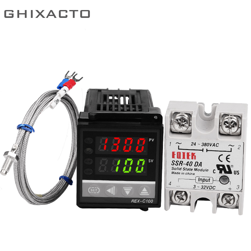 Alarm PID Digital Temperature Thermostat Regulator Controller REX C100 SSR Output Thermocouple K Type Probe Sensor State Relay