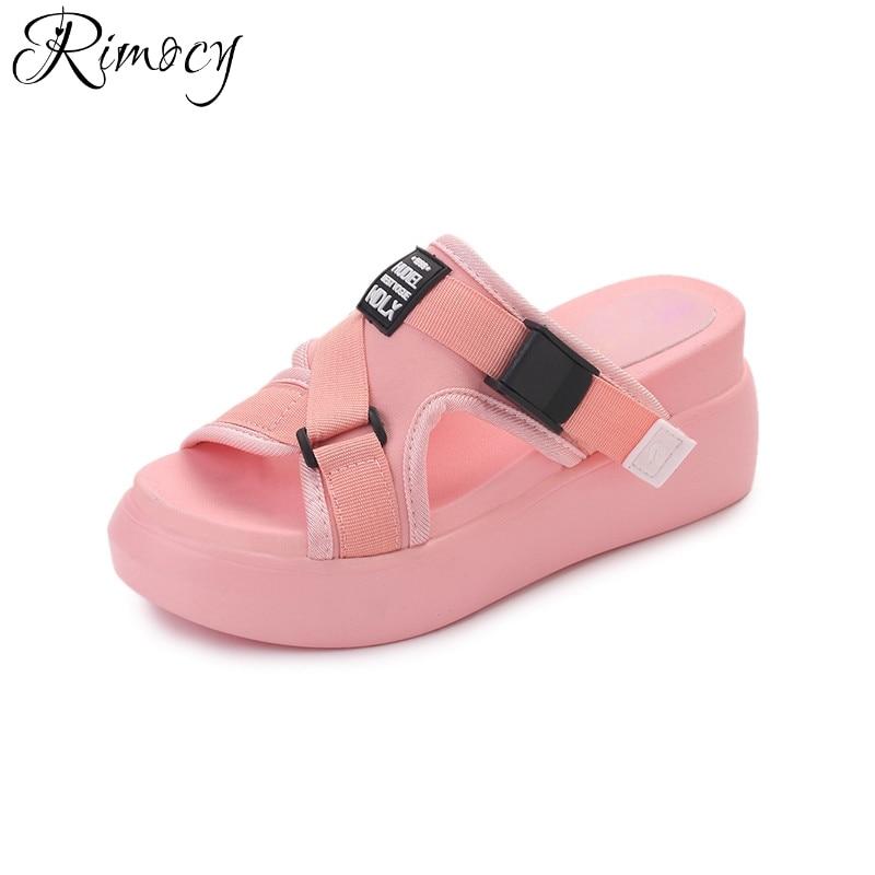 Rimocy high heels comfortable women outdoor slides 2017 brand design 7cm wedges women sandals trave driving