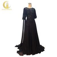 JIALINZEYI Ile Yeni Siyah Şifon Dantel Boncuk A-line uzun şal ile Parti Formal elbise Abiye 2017