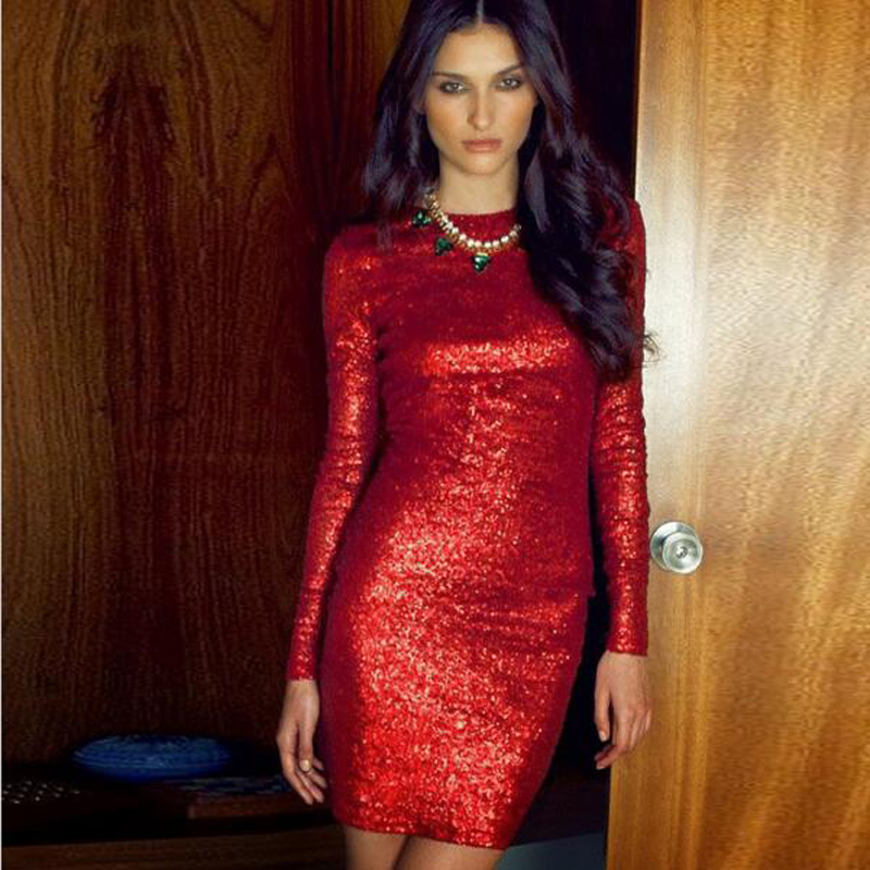Collection Red Sequin Dress With Sleeves Pictures - Reikian