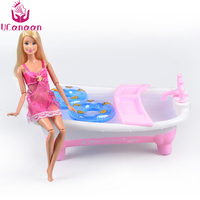 UCanaan Doll Accessories Furniture Toy Pink And White Bathtub Classic Baby Toys For Child Water Floating