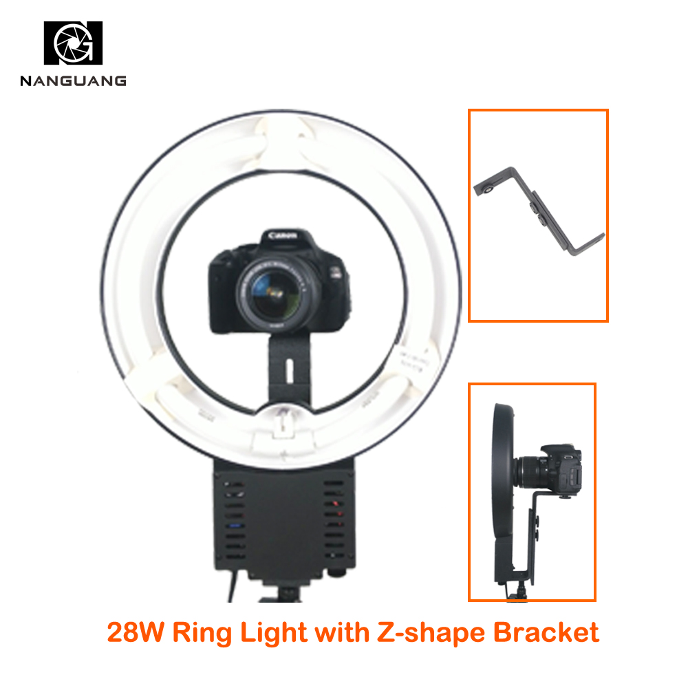 NG-28C 28W 5400K Ring Light 5600K Ring Photo Light for Selfie Lighting Portrait Lighting with Z Shape Bracket for DSLR Cameras цена