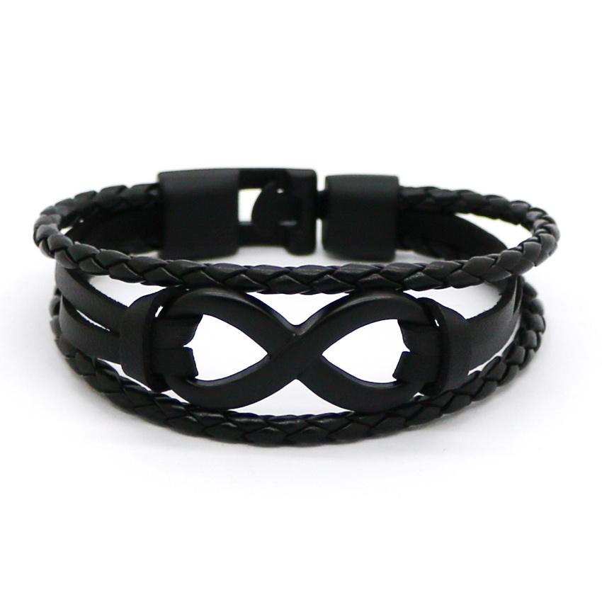 2017 Black Silver Plated Infinity Braceletss