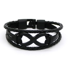 2017 Black Silver Plated Infinity Bracelets Hand Braided 7 Color 8 Word Charms Bracelets Leather Rope Bangles Bracelet Women