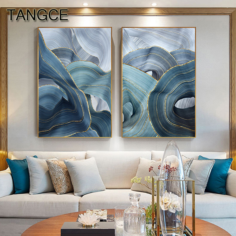 Abstract Blue Gold Foil Annual Ring Canvas Art Modern Blue And Gold Poster Luxury Wall Picture For Living Room 3D Place Tableau