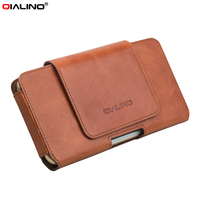 QIALINO for Galaxy A5 (2017) Genuine Cowhide Leather Pouch Holster for iPhone 7 Plus , Size: 16 x 9 x 1.4cm Brown