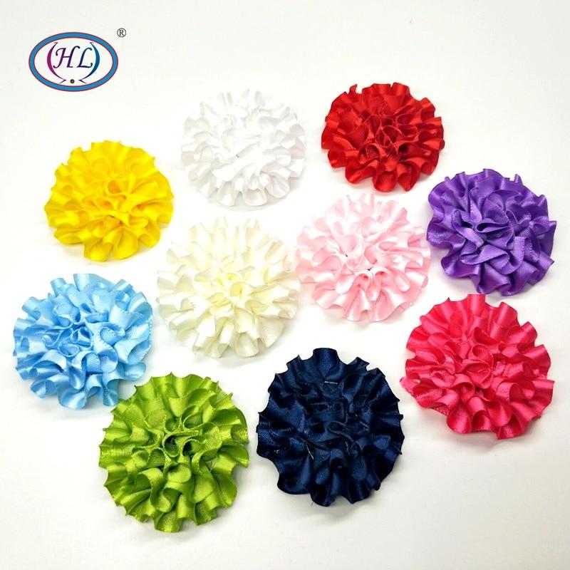 HL 50MM 4/10/20PCS Ribbon Flowers 10 Colors Flatback DIY Appliques Wedding Decorative Garment Hair Jewelry Accessories