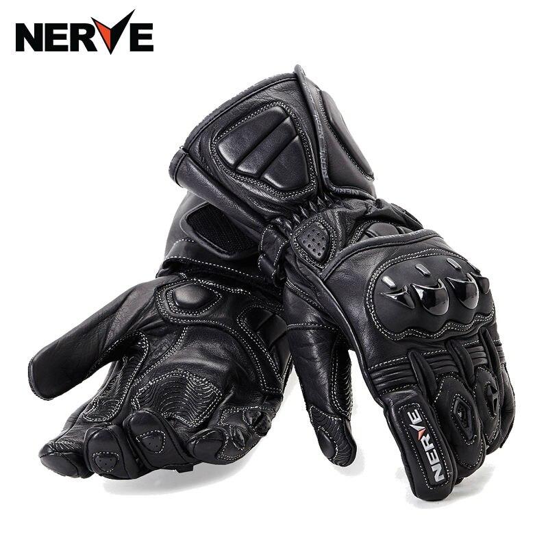 NERF moto gants d'équitation en cuir chevalier jeter gants de course longue section de haute qualité anti-dérapant glovesKQ1007 M L XL XXL
