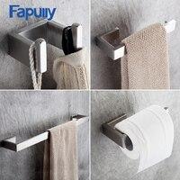 4 Piece Sets Bathroom Accessories Bath Hardware Sets 304 Stainless Steel Set Single Towel Bar Robe Hook Paper Holder FLG90012SS