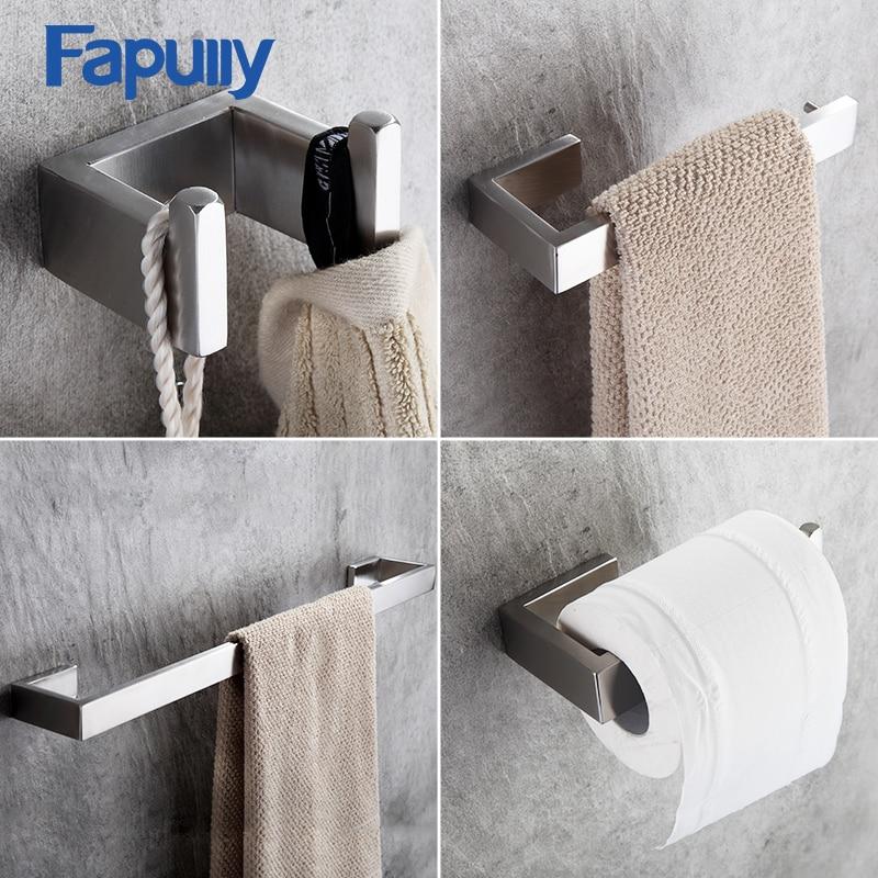 Fapully 4 pièces ensembles salle de bain accessoires bain matériel ensembles 304 en acier inoxydable ensemble unique serviette Bar Robe crochet porte-papier G124