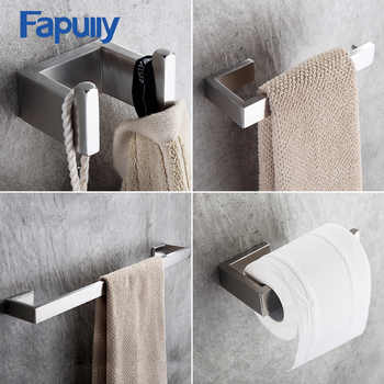 Fapully 4Piece Sets Bathroom Accessories Bath Hardware Sets 304 Stainless Steel Set Single Towel Bar Robe Hook Paper Holder G124 - DISCOUNT ITEM  20% OFF All Category