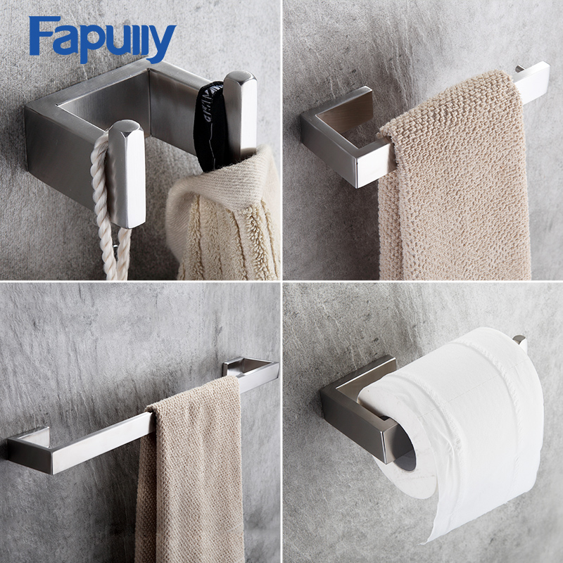 Fapully 4Piece Sets Bathroom Accessories Bath Hardware Sets 304 Stainless Steel Set Single Towel Bar Robe Hook Paper Holder G124