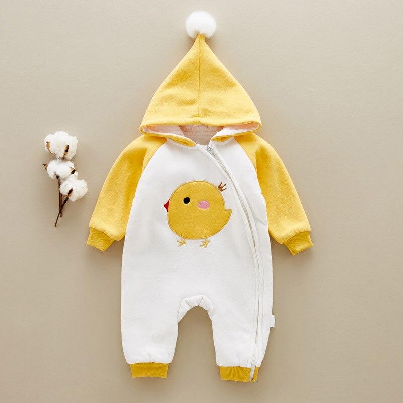 Baby Thick Warm Rompers Winter Boys Sleepwear Girls Newborn Clothes Cartoon Jumpsuit Pajamas Warm Cute Animal Macacao W61