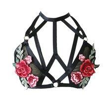 aaf0e03cdc3 Vintage Ladies Mesh Bra Embroidery Rose Flower Bralette Sexy Halter Neck  Crop Tops Women Underwear Fashion