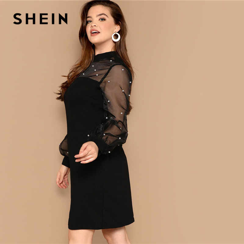 5c4fa00ed1f ... SHEIN Black Plus Size Pencil Mini Dresses Pearls Beaded Sheer Mesh  Lantern Long Sleeve 2019 Women ...