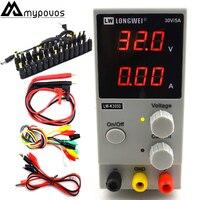 LW K305D 30V 5A Mini Adjustable Digital DC Power Supply Laboratory Switching Power Supply 110V 200V and DC Jack set