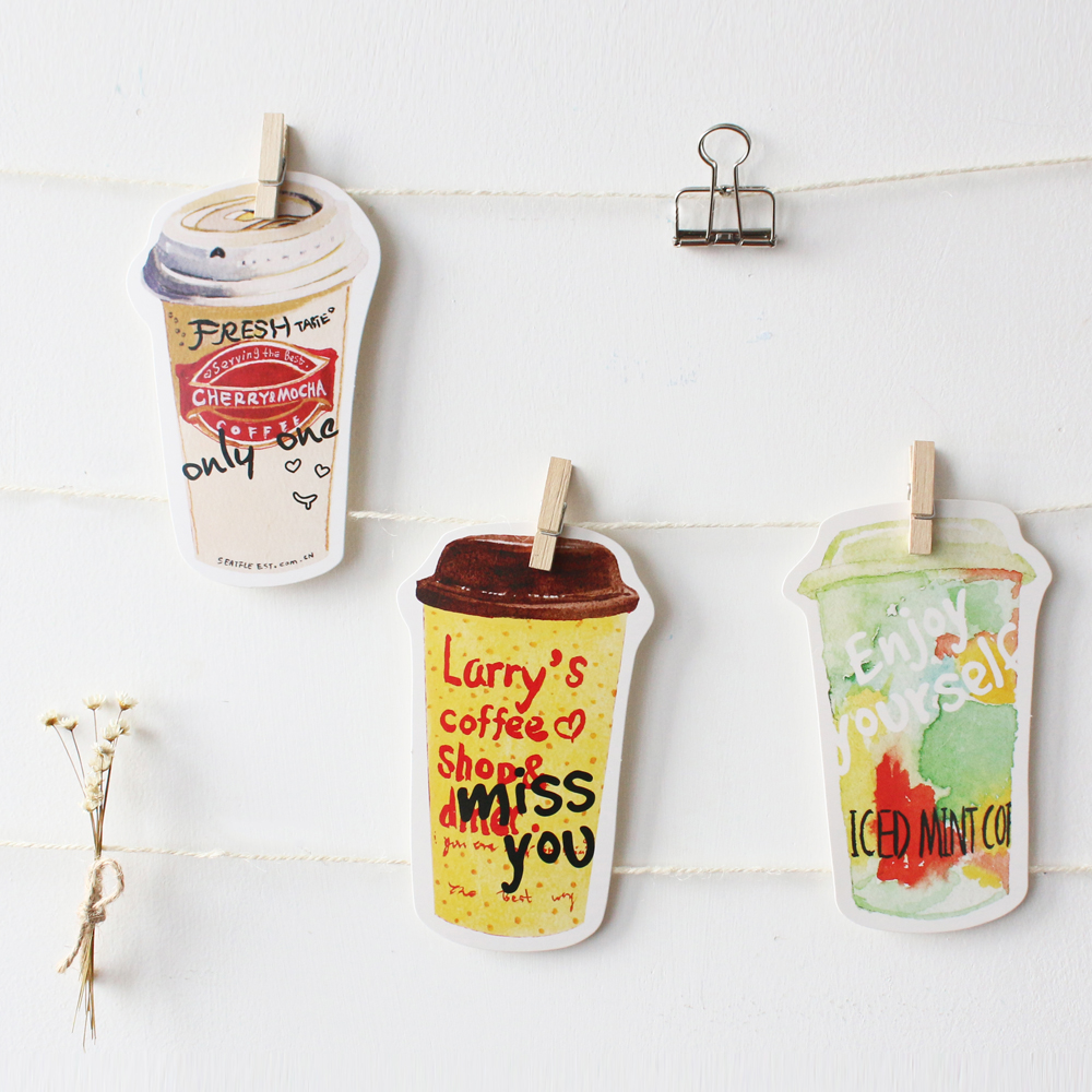 30pcs /1lot Cute Drink coffee Greeting Cards Postcards Birthday Letter Business Gift Card Set Message Card