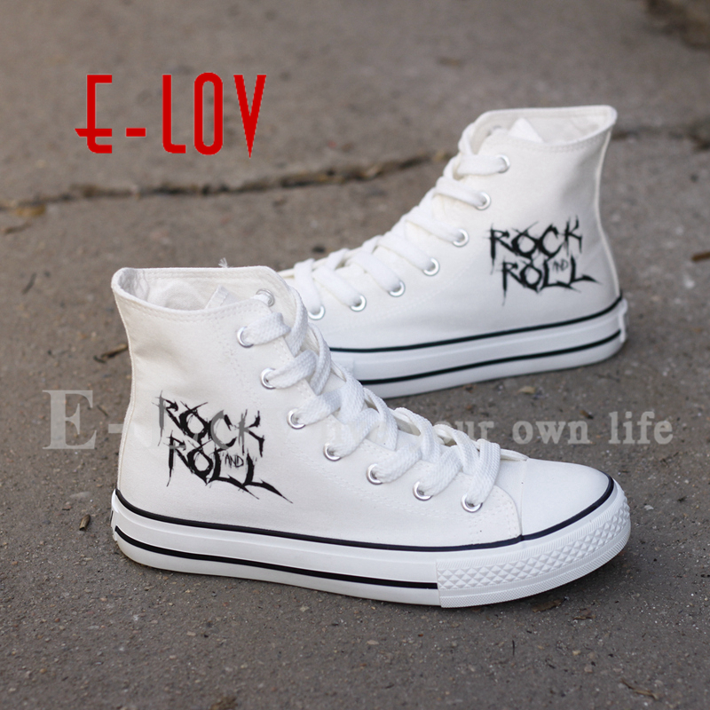 E-LOV Fashion High Top Unisex Canvas Shoes Printing Rock And Roll Casual Shoe Street Wear Lace-up Flat Shoes Drop Shipping e lov women casual walking shoes graffiti aries horoscope canvas shoe low top flat oxford shoes for couples lovers
