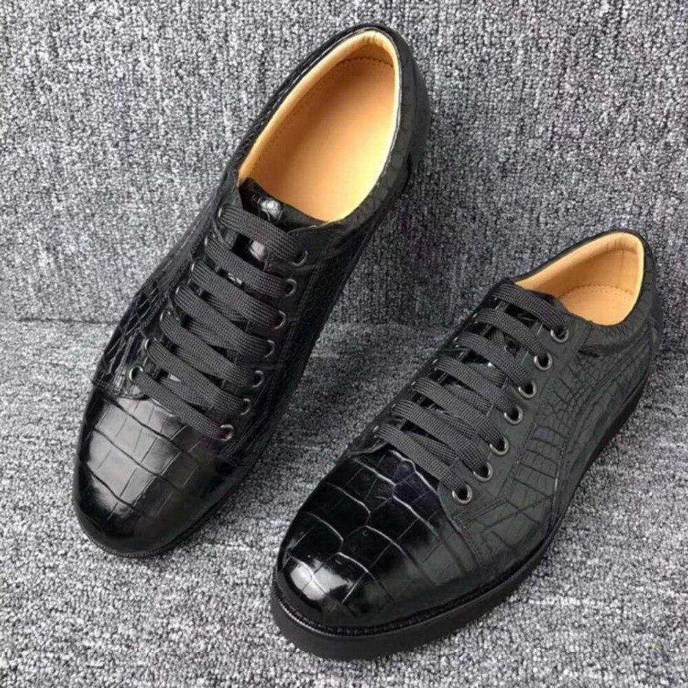 Nouvellement design top qualité réel véritable peau de crocodile hommes chaussure d'affaires avec véritable peau de vache doublure plate loisirs hommes chaussure