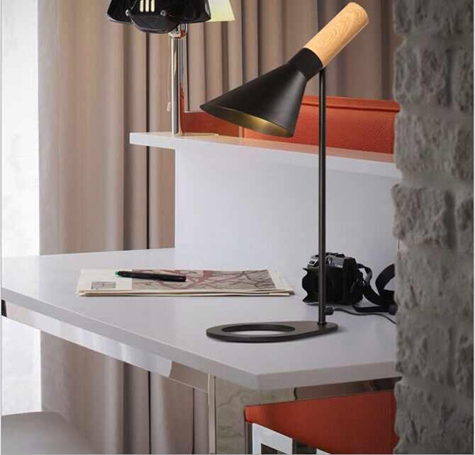 Современная настольная лампа для чтения лампа с деревянным узором Arne Jacobsen настольная лампа Дания дизайн черное белое дерево зерно исследования