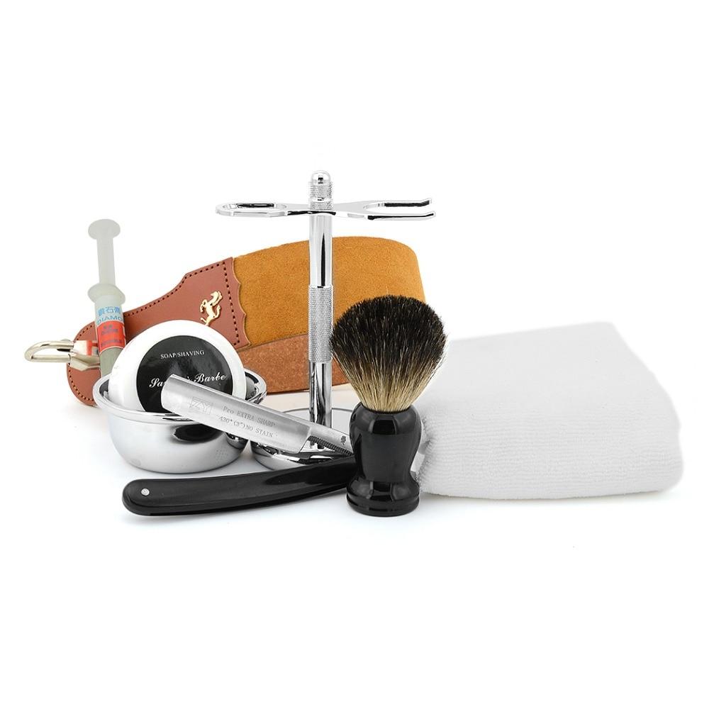 Beard knife Kit 430 Barber Shaver Black Soap Hair Brush Stainless Steel Razor Stand Bowl Knife Strop Beard Soap Polishing Paste 1pc white or green polishing paste wax polishing compounds for high lustre finishing on steels hard metals durale quality