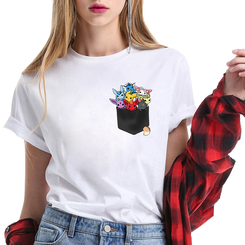 White T Shirt Eeveelutions Pocket Eevee Pokemon Tops Tees Pokemon Tshirt Fashion Womens Clothes O-Neck Harajuku Camiseta Mujer