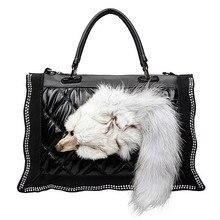 New Fashion Women Black Leather Shoulder Bag Luxury Fox Fur Lady Diamond side Decoration Messenger Handbag high quality