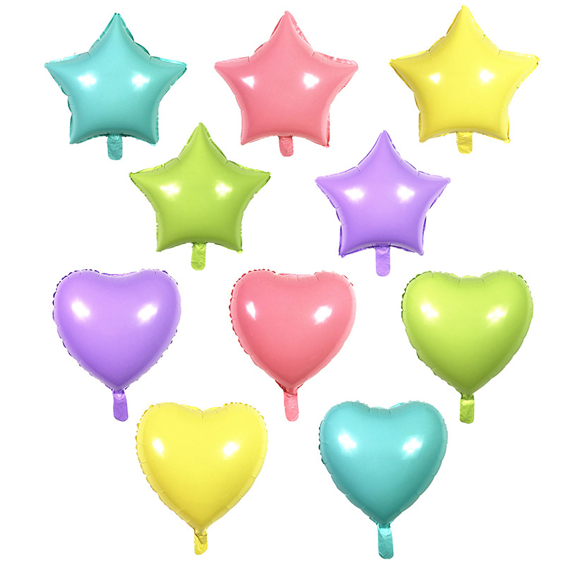 Hot 1PC Small 18 inch  Star Heart Foil Balloons Macaron Baby Shower  Birthday Party Home Decoration Kids Toy Gifts