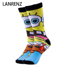 2017 Cartoon Minions printing Men and women fashion Funny socks 3d printed socks 200 knitting oil painting compression socks