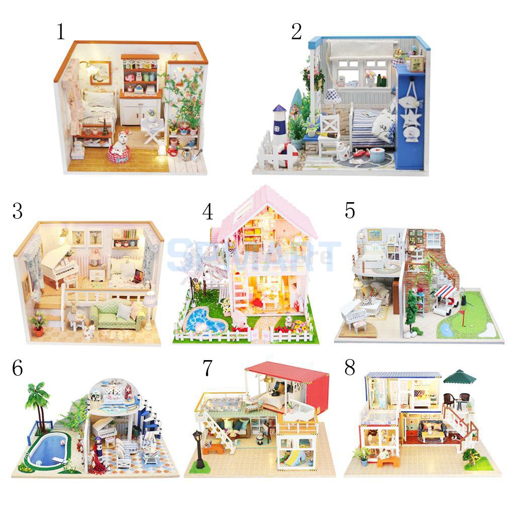 DIY Handcarft Miniature Dollhouse Project Furniture Set with LED Light Children Toy Gift Desktop Ornament/Showcase Display