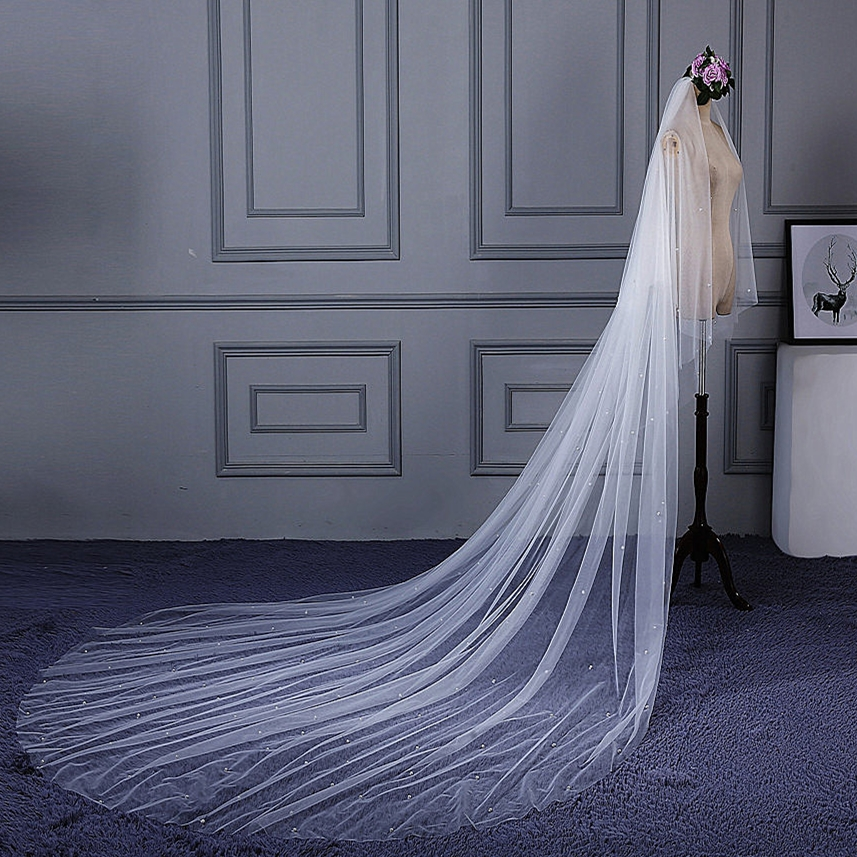 RSV93 Real Pictures Yiaibridal Stock One Layer Wedding Veil With Pearls