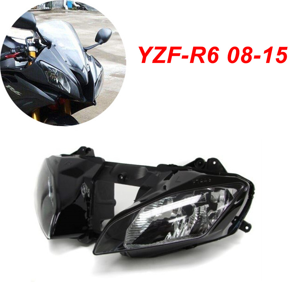 For 08-15 Yamaha YZFR6 YZF R6 YZF-R6 Motorcycle Front Headlight Head Light Lamp Headlamp CLEAR 2008 2009 2010 2011 2012-2015 motorcycle front light headlight upper bracket pairing for yamaha yzfr6 yzf r6 yzf r6 1999 2000 2001 2002 99 00 01 02