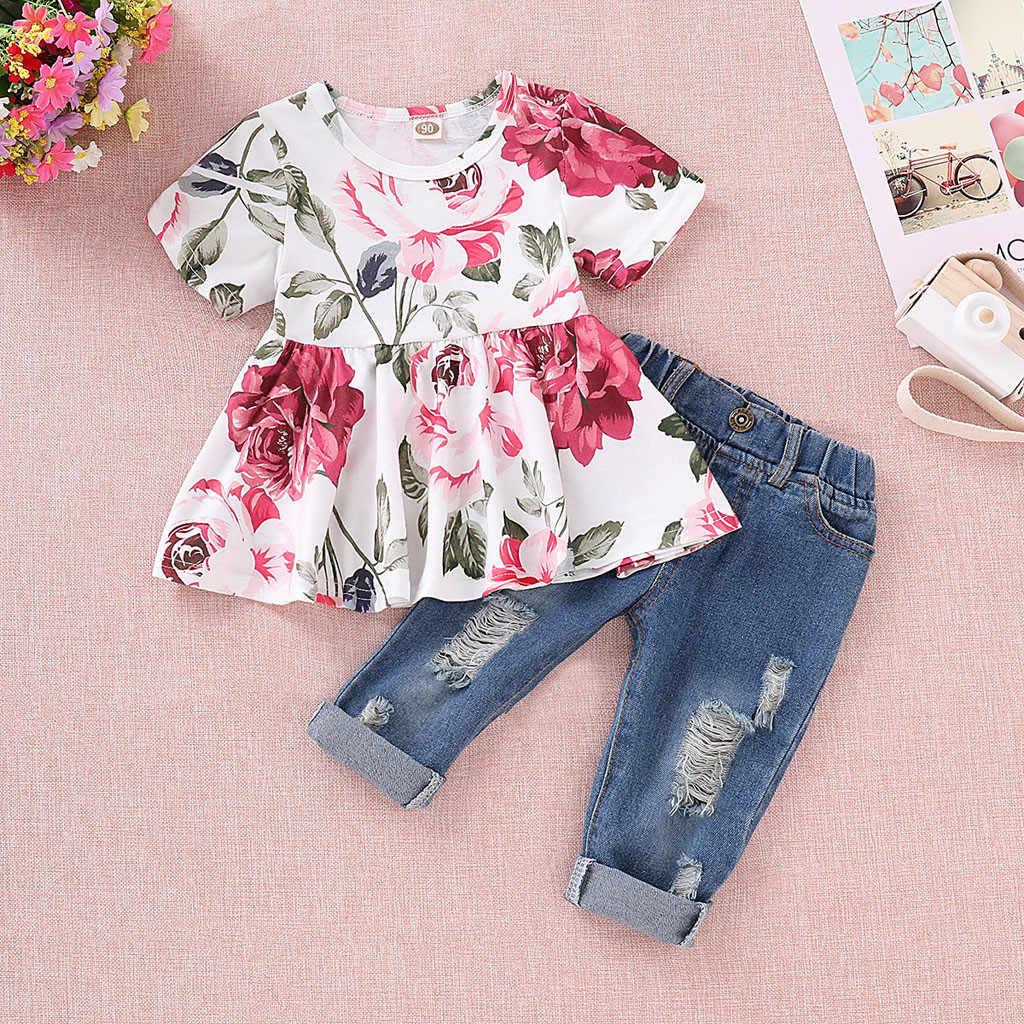 b40d176df721 Tops cortos florales para recién nacidos + Pantalones largos de mezclilla  con agujeros Jean para niños