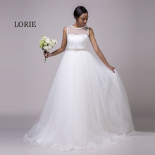 LORIE Beach Wedding Dresses O-Neck Beaded Sashes Princess Tulle Cheap Bridal Dress Free Shipping White wedding Gown Custom Made