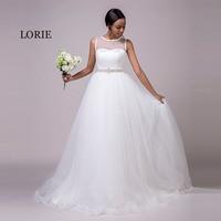LORIE Beach Wedding Dresses O Neck Beaded Sashes Princess Tulle Cheap Bridal Dress Free Shipping White