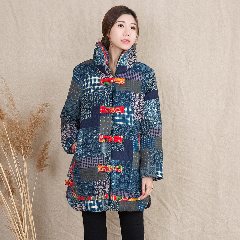 A Folk Style Dress Collar Processing Code Thickened In The Long Section Of Printed Cloth Cotton Padded Jacket Jacket шпаклёвка полимерная финишная weber vetonit kr 5 кг